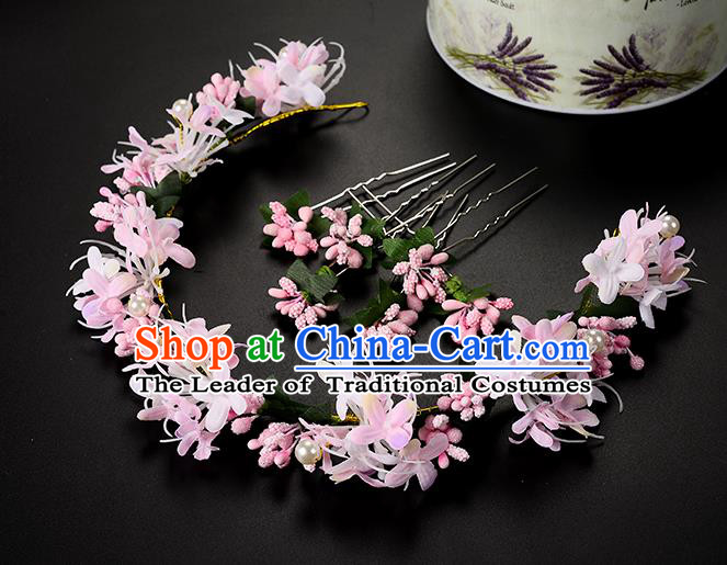 Top Grade Handmade Chinese Classical Hair Accessories Princess Wedding Baroque Headwear Pink Flowers Hair Clasp Bride Headband for Women