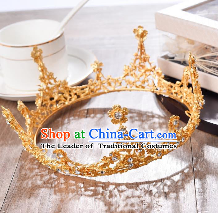 Top Grade Handmade Hair Accessories Baroque Queen Crystal Golden Round Royal Crown, Bride Wedding Hair Jewellery Princess Imperial Crown for Women