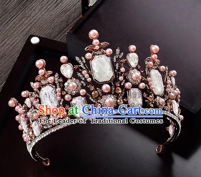 Top Grade Handmade Hair Accessories Baroque Crystal Vintage Imperial Crown, Bride Wedding Hair Jewellery Queen Crystal Golden Crown for Women