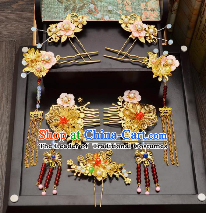 Traditional Handmade Chinese Wedding Xiuhe Suit Bride Hair Accessories Complete Set, Tassel Golden Flowers Hair Comb Step Shake Hanfu Hairpins for Women