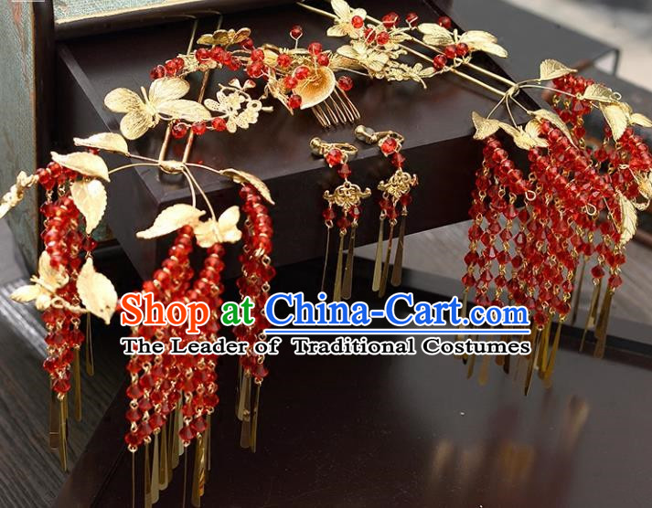 Traditional Handmade Chinese Wedding Xiuhe Suit Bride Hair Accessories Hair Comb and Hairpins Complete Set, Red Tassel Step Shake Hanfu Hairpins for Women
