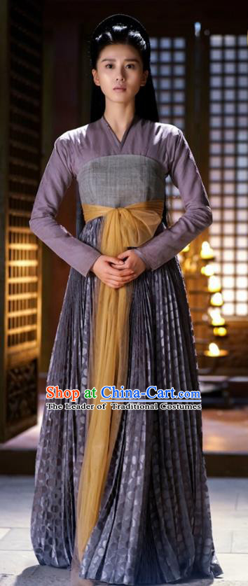 Traditional Chinese Southern and Northern Dynasties Chivalrous Women Costume and Headpiece Complete Set, Lost Love In Times Chinese Ancient Fairy Swordswoman Hanfu Dress