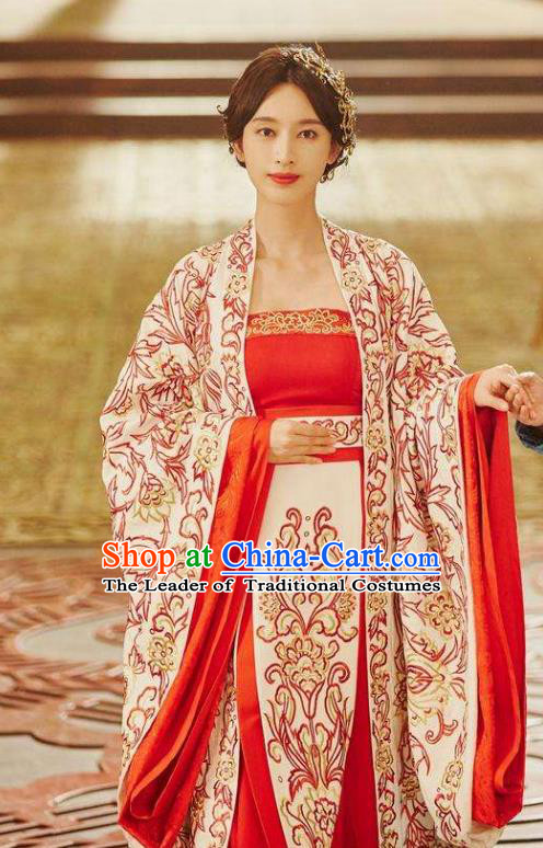 Traditional Chinese Southern and Northern Dynasties Imperial Concubine Wedding Costume and Headpiece Complete Set, A Life Time Love Chinese Ancient Fairy Hanfu Dress Clothing