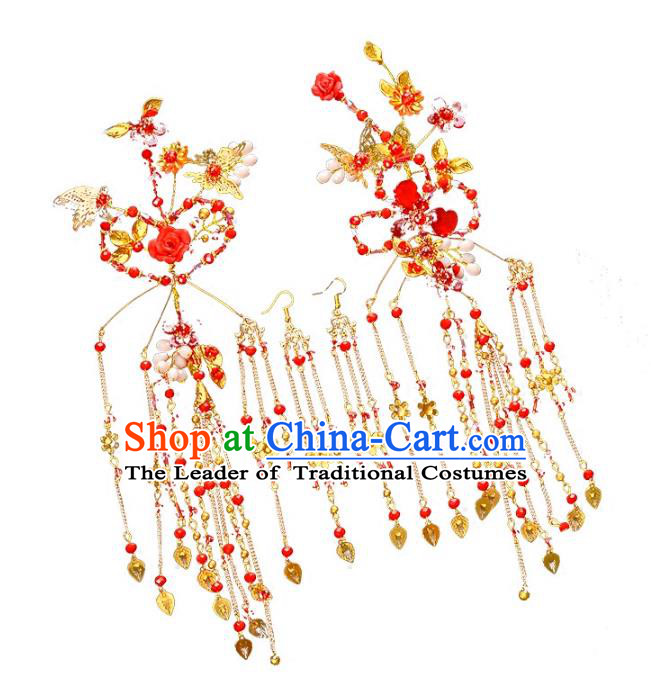 Traditional Handmade Chinese Wedding Xiuhe Suit Bride Hair Accessories Red Hairpins, Tassel Step Shake Hanfu Hairpins for Women
