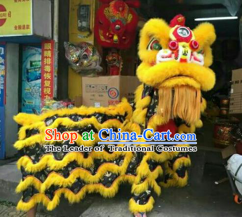 World Lion Dance Competition Yellow Fur Lion Head Lion Dance Costumes Complete Set for Adult