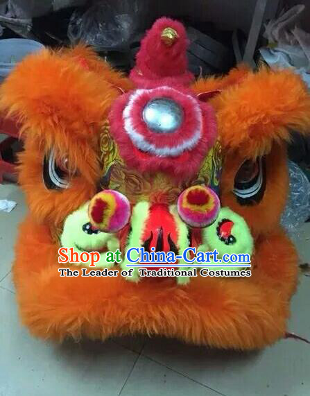 World Lion Dance Competition Orange Fur Lion Head Lion Dance Costumes for Adult