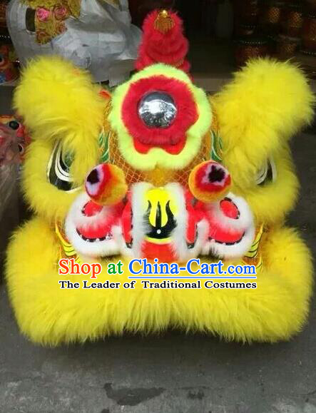 World Lion Dance Competition Yellow Fur Lion Head Lion Dance Costumes for Adult
