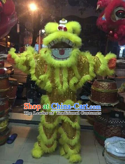 World Lion Dance Competition Yellow Fur Lion Head Lion Dance Single Person Costumes for Kids