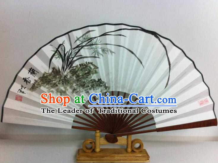 Traditional Chinese Crafts Peking Opera Folding Fan China Sensu Printing Orchid White Paper Fan for Women