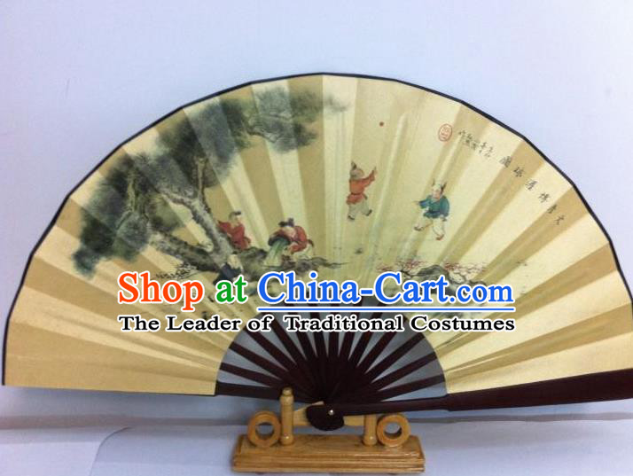 Traditional Chinese Crafts Peking Opera Folding Fan China Sensu Printing Boys Silk Fan for Men