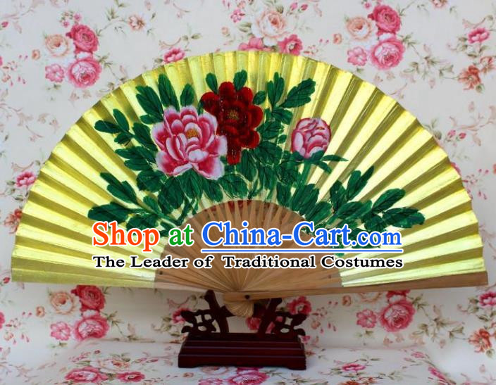 Traditional Chinese Crafts Peking Opera Folding Fan China Sensu Printing Flowers Golden Paint Fan for Women