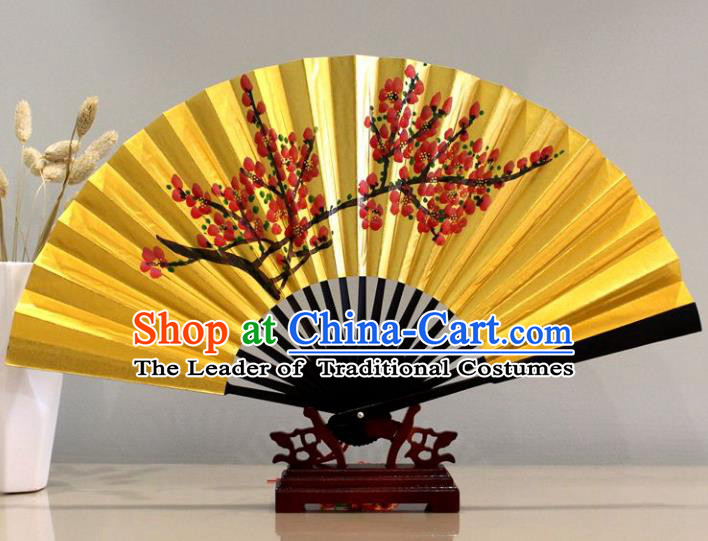Traditional Chinese Crafts Peking Opera Folding Fan China Sensu Printing Flowers Golden Paper Fan for Women