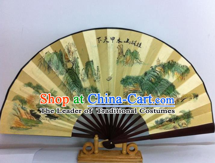 Traditional Chinese Crafts Peking Opera Folding Fan China Sensu Printing Guilin Scenery Silk Fan for Men