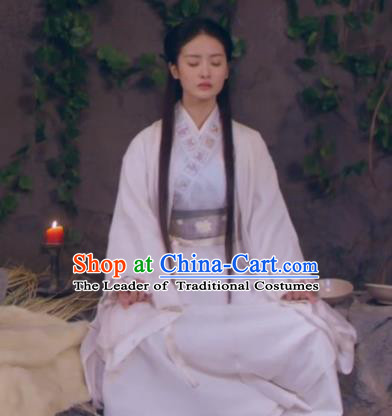 Traditional Chinese Handmade Ming Dynasty Swordswoman Embroidery Costume and Headpiece Complete Set, Chinese Chivalrous Women Hanfu Dress