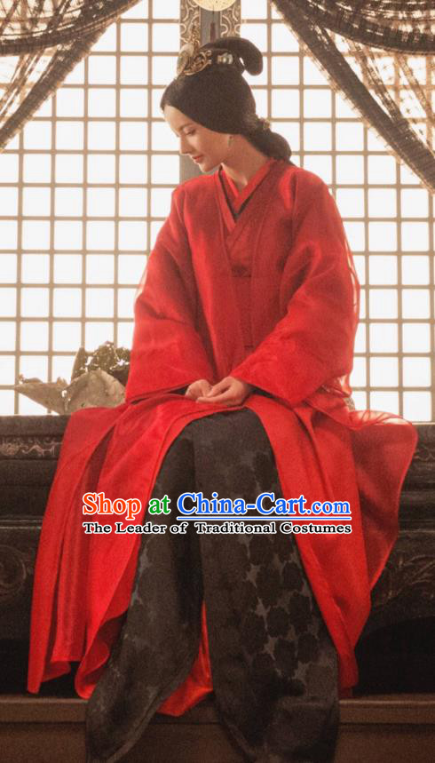 Traditional Chinese Handmade Three Kingdoms Period Princess Wedding Costume and Headpiece Complete Set, The Advisors Alliance Chinese Ancient Dowager Hanfu Red Dress