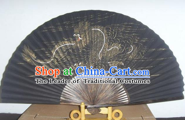 Traditional Chinese Crafts Peking Opera Folding Fan China Sensu Hand Painting Dragon Silk Fan for Men