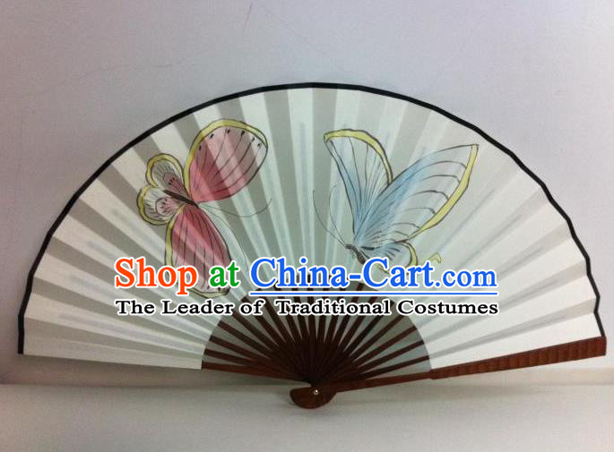 Traditional Chinese Crafts Peking Opera Folding Fan China Sensu Handmade Chinese Painting Butterfly Xuan Paper Fan for Men