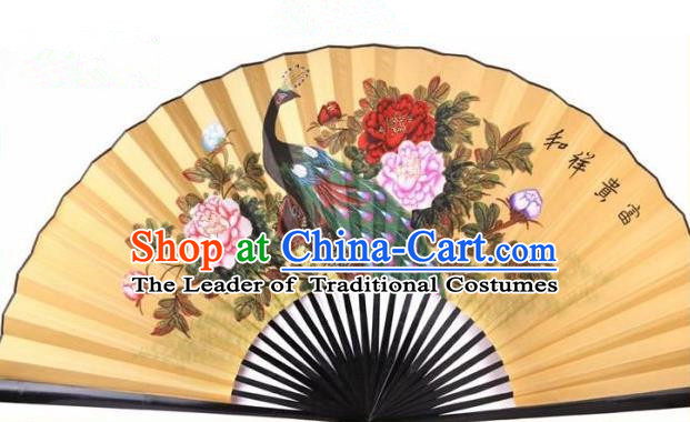 Traditional Chinese Crafts Peking Opera Folding Fan China Sensu Handmade Chinese Painting Peony Peacock Xuan Paper Fan for Men