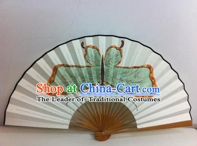 Traditional Chinese Crafts Peking Opera Folding Fan China Sensu Handmade Chinese Painting Green Butterfly Xuan Paper Fan for Men