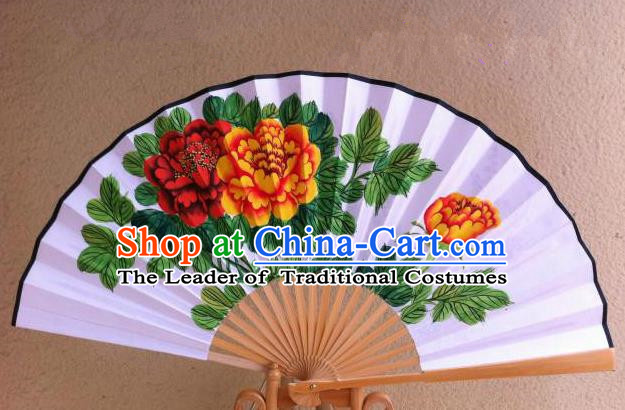 Traditional Chinese Crafts Peking Opera Folding Fan China Sensu Handmade Chinese Painting Flowers Xuan Paper Fan for Men