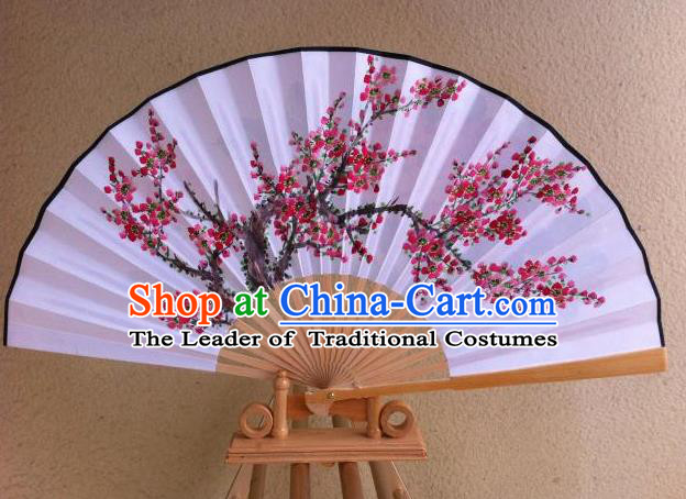 Traditional Chinese Crafts Peking Opera Folding Fan China Sensu Handmade Chinese Painting Plum Blossom Xuan Paper Fan for Men