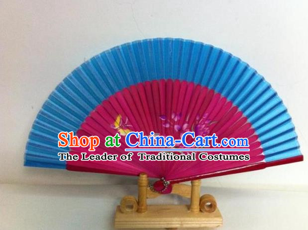 Traditional Chinese Crafts Peking Opera Folding Fan China Sensu Handmade Chinese Painting Orchid Rosy Fan for Women
