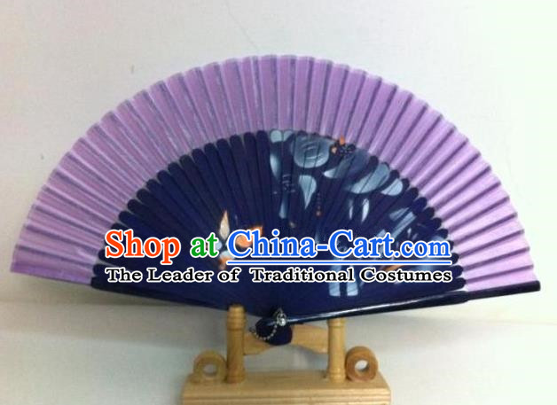 Traditional Chinese Crafts Peking Opera Folding Fan China Sensu Handmade Chinese Painting Orchid Navy Fan for Women