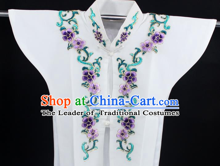 Traditional China Beijing Opera Young Lady Costume White Collar Protectors, Ancient Chinese Peking Opera Embroidery Clothing