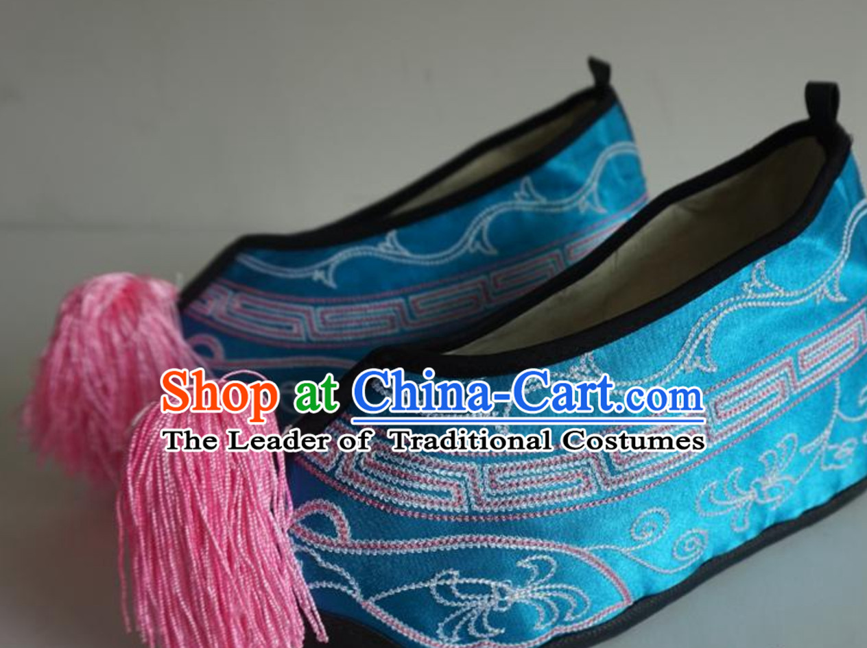 Chinese Classical Beijing Opera Peking Opera Lady Embroidered Boots Shoes