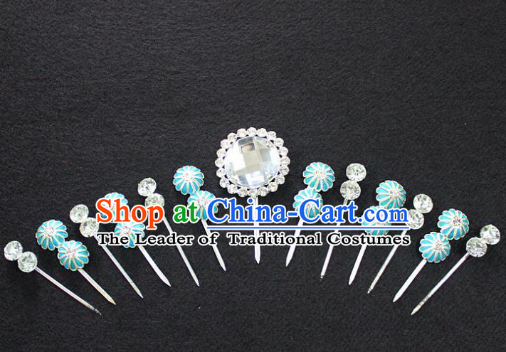 Traditional China Beijing Opera Young Lady Hair Accessories Complete Set, Ancient Chinese Peking Opera Hua Tan Headwear Diva Crystal Hairpins