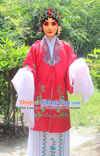 Traditional China Beijing Opera Young Lady Hua Tan Costume Embroidered Water Sleeve Red Cape, Ancient Chinese Peking Opera Female Diva Embroidery Dress Clothing