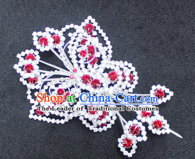 Traditional China Beijing Opera Young Lady Hair Accessories Diva Head-ornaments, Ancient Chinese Peking Opera Hua Tan Headwear Butterfly Hairpins