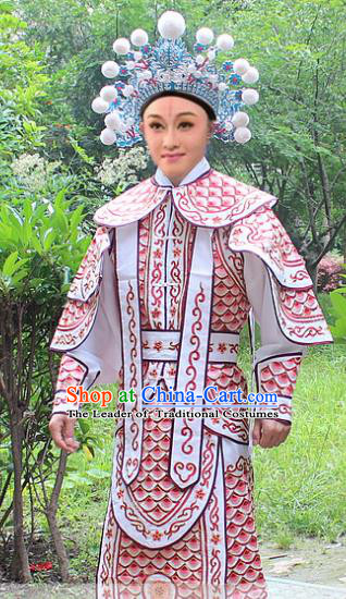 Traditional China Beijing Opera Costume Yang Warrior Robe and Headwear Complete Set, Ancient Chinese Peking Opera Soldier Pink Gwanbok Clothing