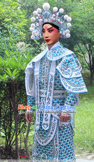 Traditional China Beijing Opera Costume Yang Warrior Robe and Headwear Complete Set, Ancient Chinese Peking Opera Soldier Light Blue Gwanbok Clothing
