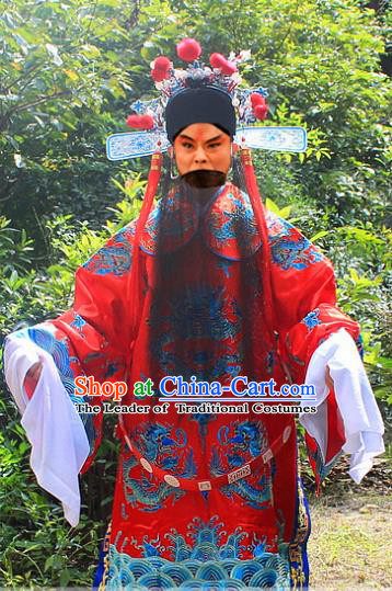 Traditional China Beijing Opera Costume Emperor Son-in-law Embroidered Robe and Headwear Complete Set, Ancient Chinese Peking Opera General Red Gwanbok Clothing