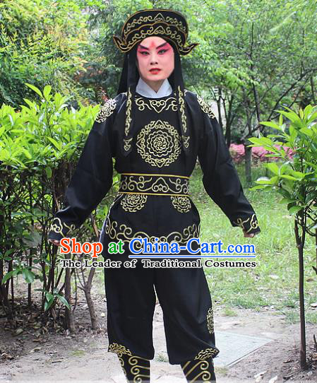 Traditional China Beijing Opera Costume Swordsman Takefu Embroidered Black Uniform and Headwear, Ancient Chinese Peking Opera Embroidery Warrior Clothing