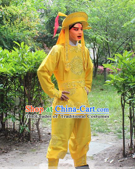 Traditional China Beijing Opera Costume Swordsman Takefu Embroidered Yellow Uniform and Headwear, Ancient Chinese Peking Opera Embroidery Warrior Clothing