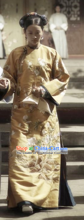 Traditional Ancient Chinese Qing Dynasty Manchu Imperial Consort Costume, Chinese Mandarin Robes Imperial Concubine Embroidered Dress Clothing for Women