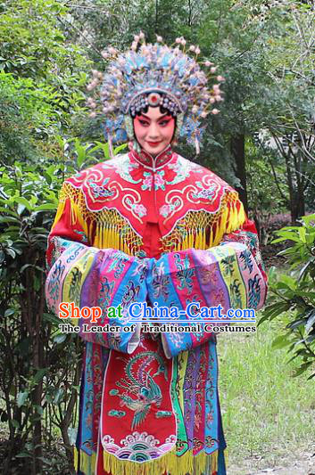 Traditional China Beijing Opera Palace Lady Hua Tan Costume Imperial Princess Red Embroidered Robe and Headwear, Ancient Chinese Peking Opera Female Diva Embroidery Dress Clothing