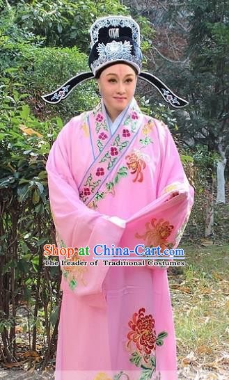 Traditional China Beijing Opera Niche Costume Scholar Pink Embroidered Robe and Hat, Ancient Chinese Peking Opera Embroidery Chrysanthemum Clothing