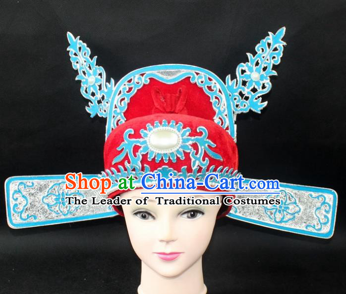 Traditional China Beijing Opera Young Men Hair Accessories Emperor Son-in-law Hat, Ancient Chinese Peking Opera Lang Scholar Official Hat