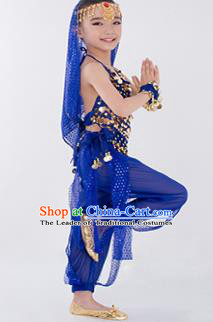 Traditional Indian Classical Dance Belly Dance Costume, India China Uyghur Nationality Dance Clothing Royalblue Paillette Uniform for Kids