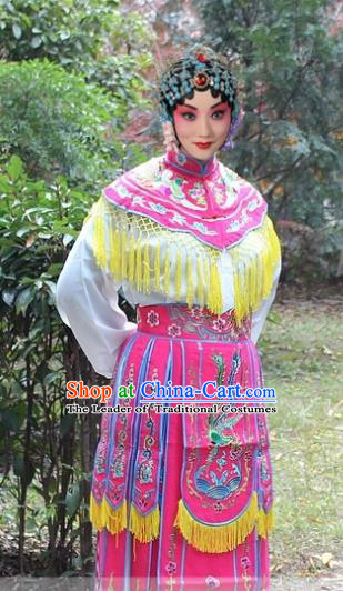 Traditional China Beijing Opera Hua Tan Costume Imperial Princess Embroidered Robe, Ancient Chinese Peking Opera Female Diva Embroidery Dress Peach Pink Clothing