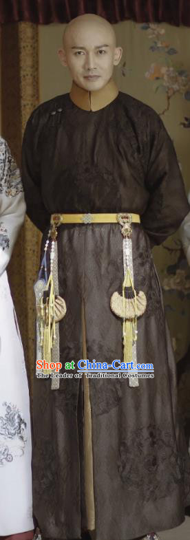 Traditional Ancient Chinese Royal Highness Costume, Chinese Qing Dynasty Manchu Mandarin Robes Prince Embroidered Clothing for Men