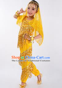 Traditional Indian Classical Dance Belly Dance Costume and Headwear, India China Uyghur Nationality Dance Clothing Yellow Uniform for Kids