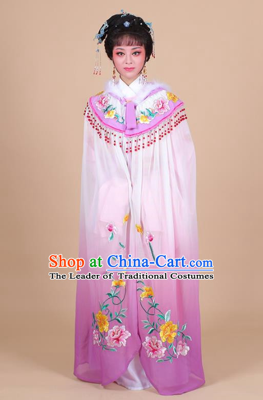 Traditional China Beijing Opera Young Lady Hua Tan Costume Female Embroidered Cloak, Ancient Chinese Peking Opera Diva Embroidery Purple Mantle Clothing