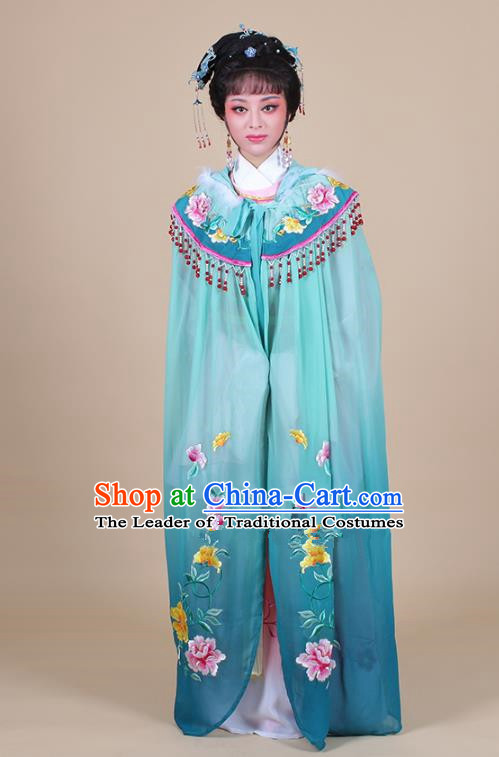 Traditional China Beijing Opera Young Lady Hua Tan Costume Female Embroidered Cloak, Ancient Chinese Peking Opera Diva Embroidery Green Mantle Clothing