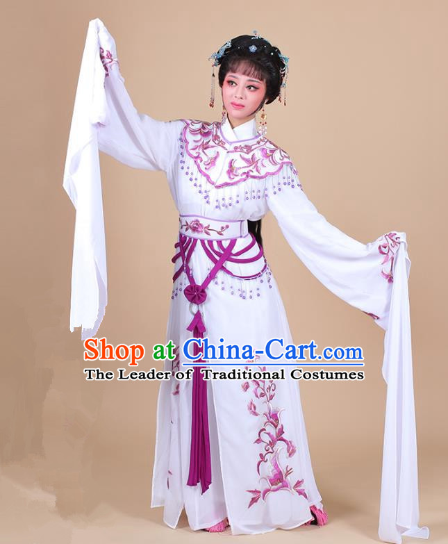 Traditional China Beijing Opera Young Lady Hua Tan Costume Female Water Sleeve Dance Purple Clothing, Ancient Chinese Peking Opera Diva Embroidery Dress