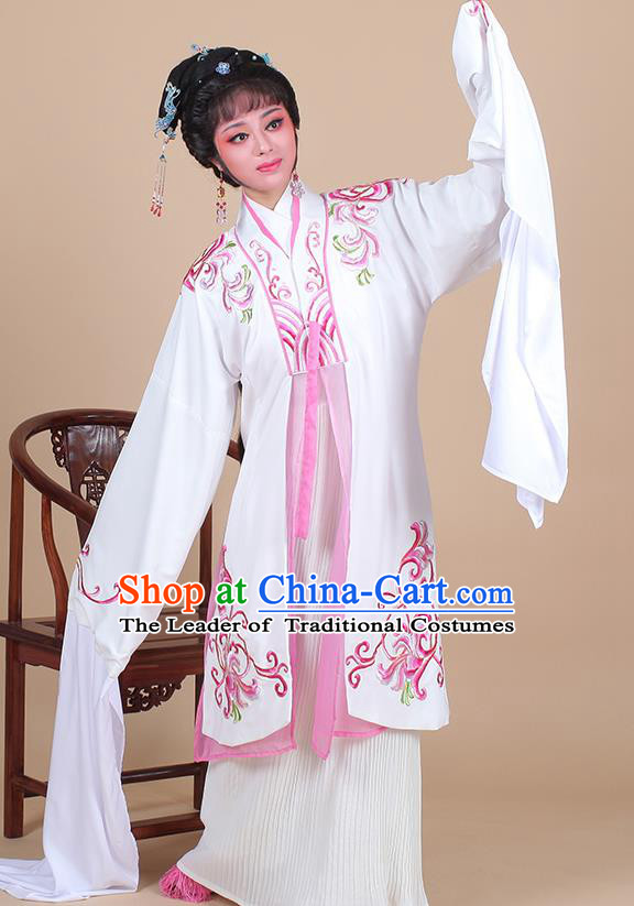 Traditional China Beijing Opera Young Lady Hua Tan Costume Female Water Sleeve Dance Clothing, Ancient Chinese Peking Opera Madam White Snake Diva Embroidery Dress