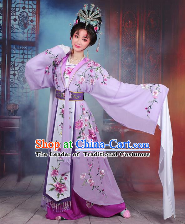 Traditional China Beijing Opera Young Lady Hua Tan Costume Purple Embroidered Cape, Ancient Chinese Peking Opera Diva Embroidery Peony Water Sleeve Dress Clothing